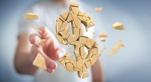 Uomo d'affari con la rappresentazione d'esplosione di valuta 3D del dollaro Immagini Stock Libere da Diritti