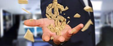 Uomo d'affari con la rappresentazione d'esplosione di valuta 3D del dollaro Fotografia Stock