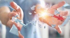Uomo d'affari con la rappresentazione rotta della freccia 3D di crisi Fotografie Stock Libere da Diritti