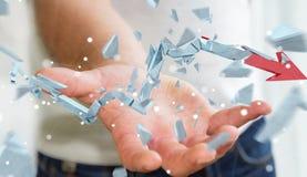 Uomo d'affari con la rappresentazione rotta della freccia 3D di crisi Immagine Stock Libera da Diritti