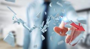Uomo d'affari con la rappresentazione rotta della freccia 3D di crisi Fotografie Stock