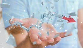Uomo d'affari con la rappresentazione rotta della freccia 3D di crisi Fotografia Stock
