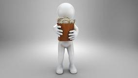Uomo d'affari con la tasca di soldi, dollari Fotografie Stock Libere da Diritti
