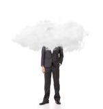 Uomo d'affari con la testa nelle nuvole fotografie stock libere da diritti