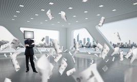 Uomo d'affari con la TV invece della testa Fotografie Stock Libere da Diritti
