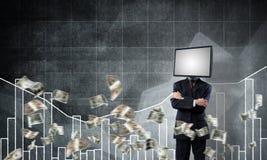 Uomo d'affari con la TV invece della testa Fotografia Stock Libera da Diritti