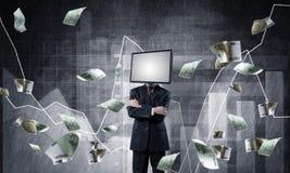 Uomo d'affari con la TV invece della testa Fotografie Stock