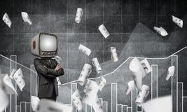Uomo d'affari con la vecchia TV invece della testa Fotografie Stock Libere da Diritti