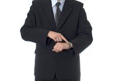 Uomo d'affari con la vigilanza Immagine Stock Libera da Diritti