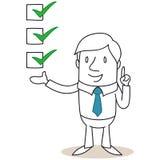Uomo d'affari con le caselle di controllo royalty illustrazione gratis