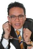 Uomo d'affari con le manette Fotografia Stock Libera da Diritti