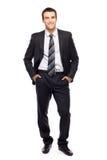 Uomo d'affari con le mani in caselle immagini stock libere da diritti