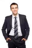 Uomo d'affari con le mani in caselle immagine stock libera da diritti