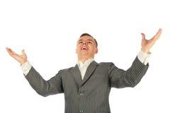 Uomo d'affari con le mani larghe Immagini Stock