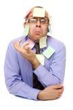 Uomo d'affari con le note appiccicose Immagini Stock Libere da Diritti