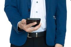 Uomo d'affari con lo smartphone Immagini Stock