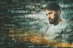 Uomo d'affari con lo smartphone, concetto di affari Fotografie Stock