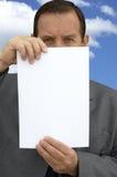 Uomo d'affari con lo spazio in bianco vuoto immagine stock