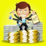 Uomo d'affari con molti armi e pila di monete e di banconote Fotografia Stock