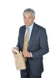 Uomo d'affari con Sanwdich Fotografie Stock