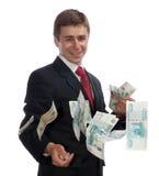 Uomo d'affari con soldi Immagini Stock Libere da Diritti