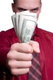 Uomo d'affari con soldi isolati nella priorità bassa bianca Fotografia Stock