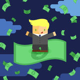 Uomo d'affari con soldi piovosi Fotografia Stock