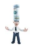 Uomo d'affari con soldi sulla sua testa Fotografie Stock Libere da Diritti