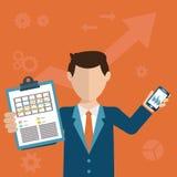 Uomo d'affari con un compito, mostrante compito e progettazione moderna analitica e piana Fotografia Stock