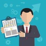 Uomo d'affari con un compito, mostrante compito e progettazione moderna analitica e piana Fotografie Stock