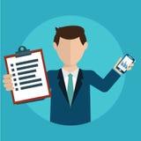 Uomo d'affari con un compito, mostrante compito ed analitico Fotografia Stock