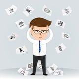 Uomo d'affari con un'emicrania contro le icone disegnate a mano di affari illustrazione vettoriale