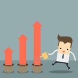 Uomo d'affari con un grafico che va su illustrazione di stock