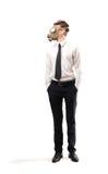 Uomo d'affari con una maschera antigas Fotografia Stock