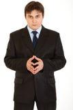 Uomo d'affari concentrato che pensa a qualcosa fotografie stock