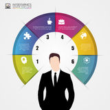 Uomo d'affari Concetto di Infographics Modello di disegno moderno Immagine Stock