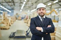 Uomo d'affari contento in elmetto protettivo alla fabbrica immagine stock