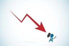 Uomo d'affari contro la freccia rossa discendente, concetto di affari illustrazione di stock