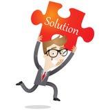Uomo d'affari corrente con il pezzo rosso del puzzle Fotografia Stock