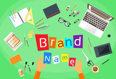 Uomo d'affari creativo Desk Flat di concetto di marca commerciale Immagine Stock Libera da Diritti