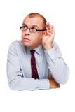 Uomo d'affari d'ascolto Fotografie Stock Libere da Diritti