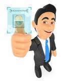 uomo d'affari 3D che identifica con l'impronta digitale Fotografie Stock