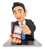 uomo d'affari 3D che viene fuori uno schermo del computer portatile con un impegno rin Immagine Stock Libera da Diritti