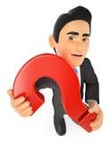 uomo d'affari 3D con un punto interrogativo enorme illustrazione di stock
