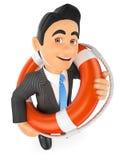 uomo d'affari 3D con una salvavita bailout Salvataggio finanziario Fotografia Stock