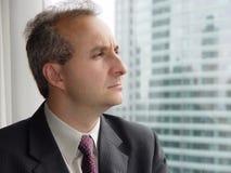 Uomo d'affari dalla finestra fotografia stock libera da diritti