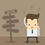 Uomo d'affari davanti ad un'etichetta choice illustrazione di stock