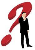 Uomo d'affari davanti al punto interrogativo illustrazione di stock