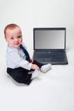 Uomo d'affari del bambino - schermo in bianco Fotografie Stock Libere da Diritti