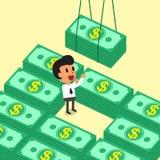 Uomo d'affari del fumetto che riceve le pile dei soldi Immagine Stock